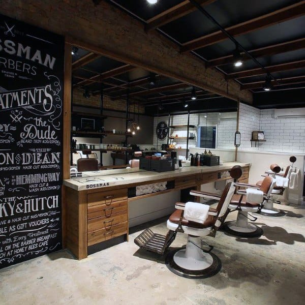 Rustic Wood Barber Shop Designs Industrial Ideas