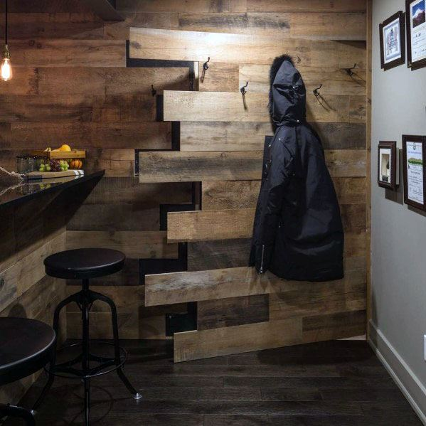 Rustic Wood Basement Bar Hidden Doors