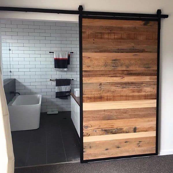 Rustic Wood Bathroom Designs Barn Door