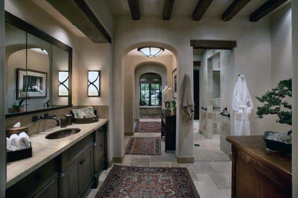 Rustic Wood Beam Bathroom Ceiling