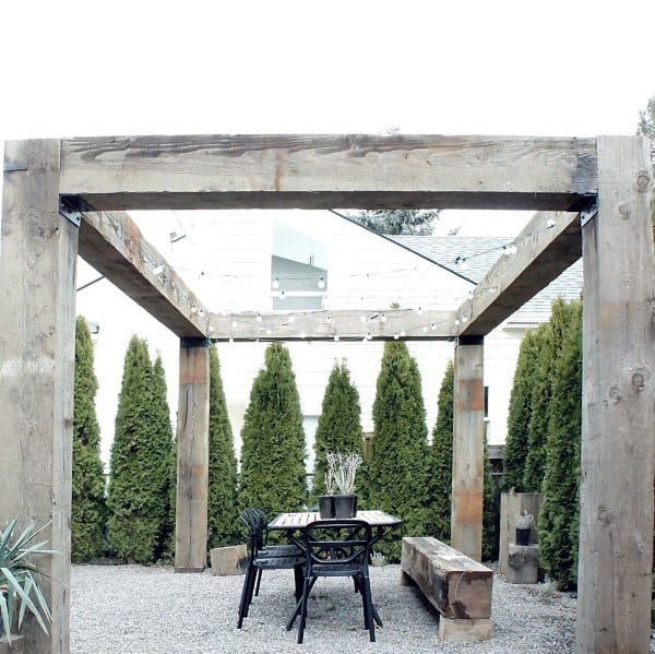 Rustic Wood Beams Pergola Ideas