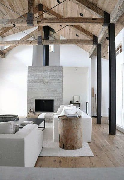 Rustic Wood Beams Vaulted Ceiling Interior Design