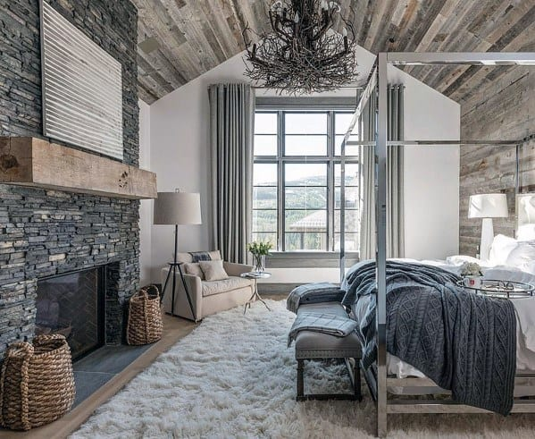 Rustic Wood Ceiling Luxury Master Bedroom Ideas With Stone Fireplace