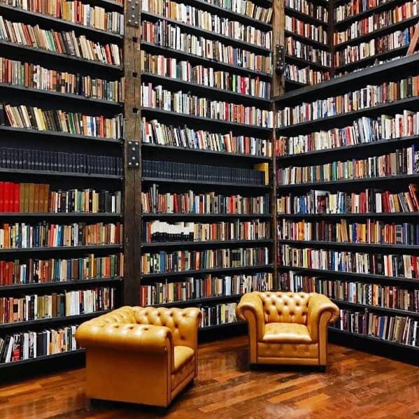 Rustic Wood Cool Floor To Ceiling Bookshelves