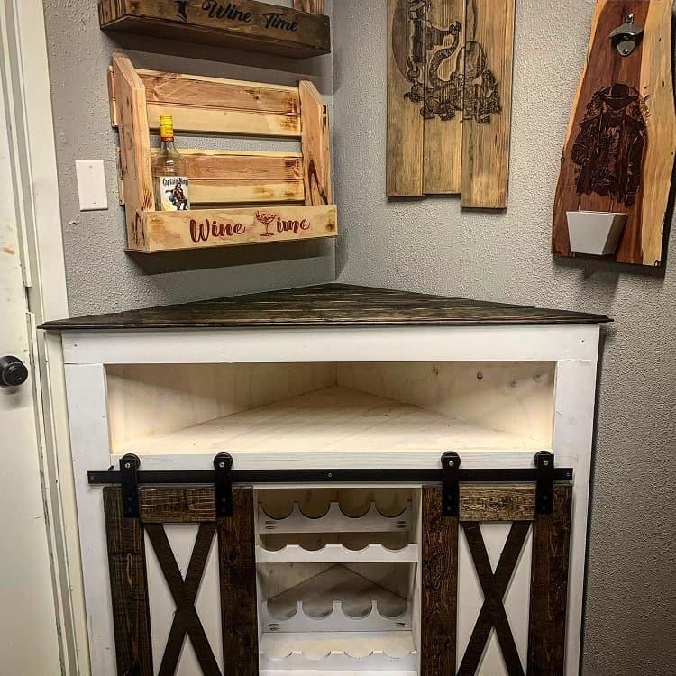 Rustic Wood Corner Liquor Cabinet Allstarwoodwerx