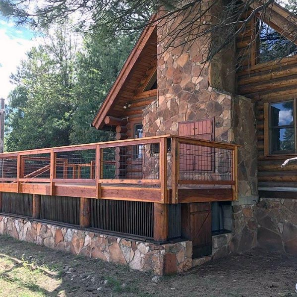 Rustic Wood Deck Railing Idea Inspiration