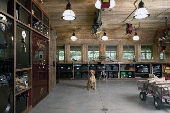 Delightful Rustic Wood Garage Storage Ideas With Safe