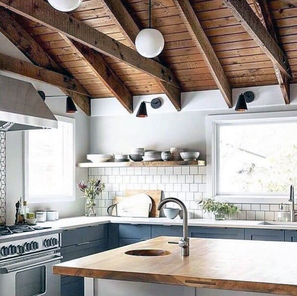 Rustic Wood Home Interior Vaulted Ceiling Ideas For Kitchen