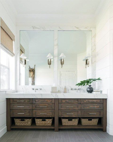 Rustic Wood Look With Marble Countertops Bathroom Vanity Design Inspiration