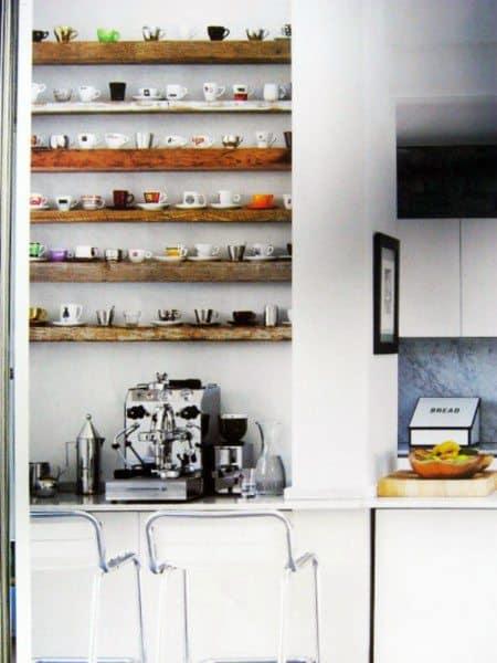 Rustic Wood Shelves Coffee Bar Ideas