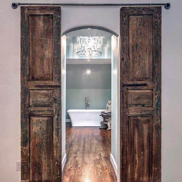 Rustic Wood Unique Barn Doors For Master Bathroom