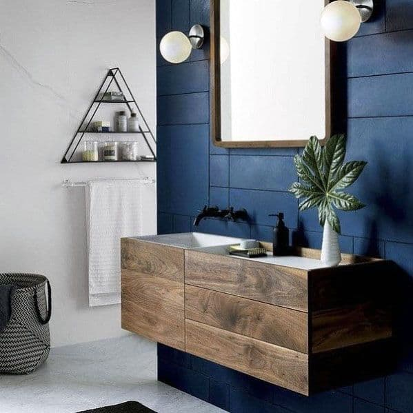 Rustic Wood Vanity Interior Designs Blue Bathroom