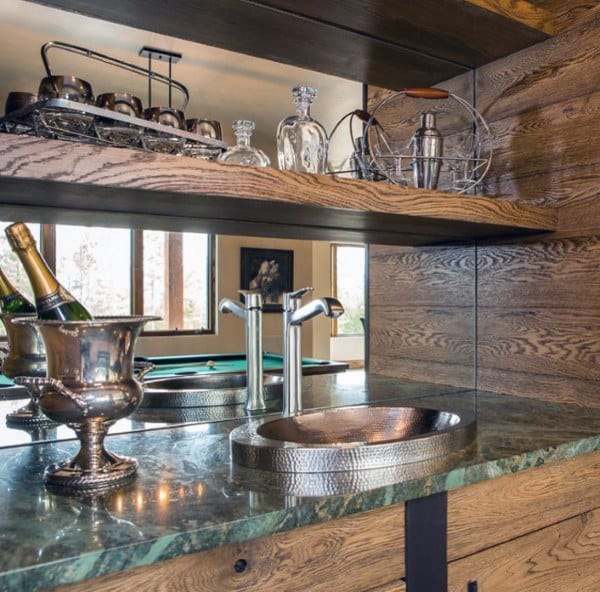 Rustic Wood With Green Countertops Wet Bar Designs For Home