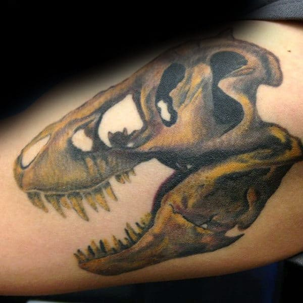 Rusty Dinosaur Skull Tattoo Male Forearms
