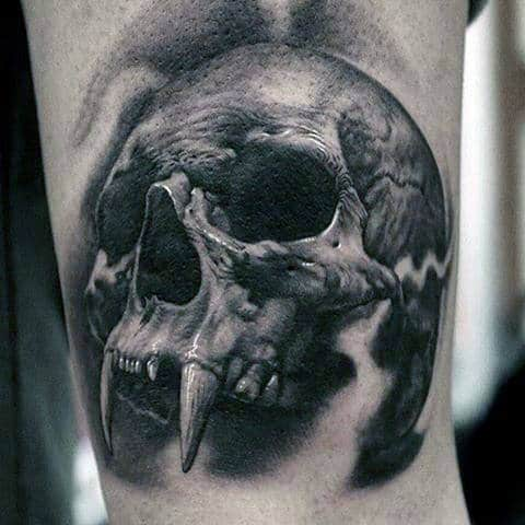 Sabertooth Skull Awesome Male Tattoo