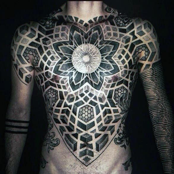 Sacred Geometry Dot And Line Work Mens Chest Tattoo