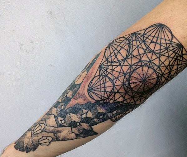 Sacred Geometry Mens Elbow Tattoo With Circles