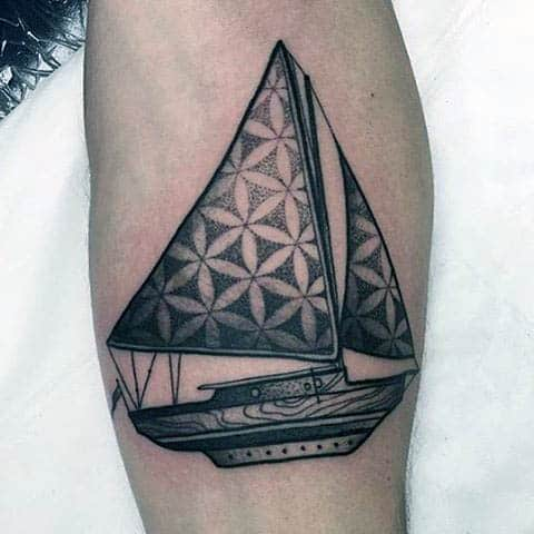 Sacred Geometry Mens Sailboat Tattoo With Shading