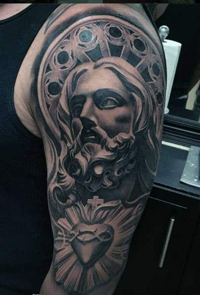 Sacred Heart And Jesus Christ Half Sleeve Tattoo Designs For Males