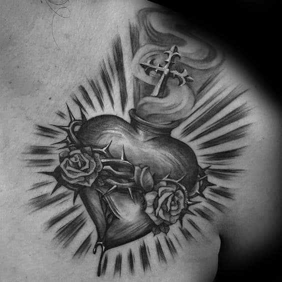 Sacred Heart Catholic Shaded Male Upper Chest And Shoulder Tattoos