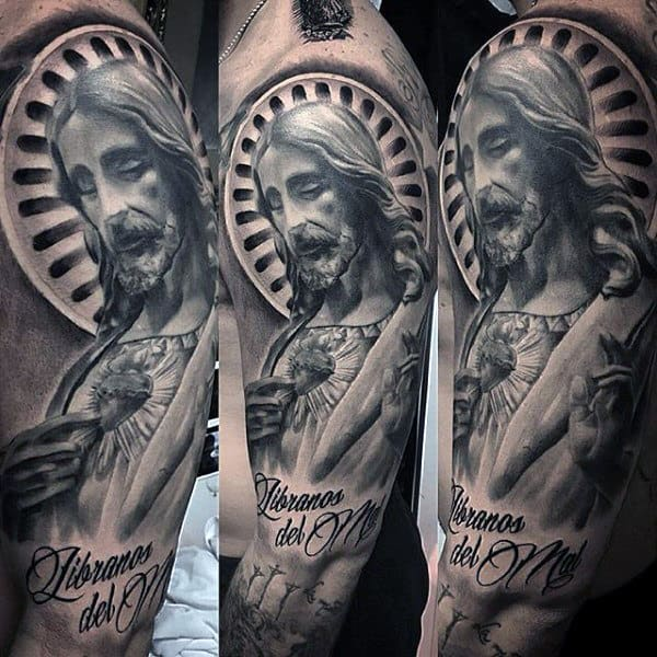 Sacred Heart Jesus Mens Half Sleeve Tattoos