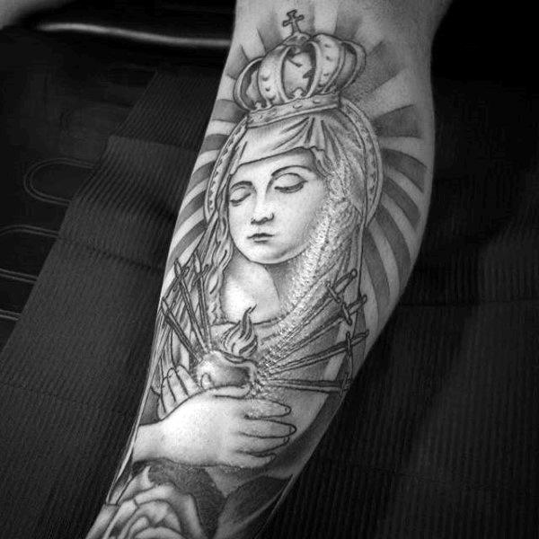 Sacred Heart Mother Mary Guys Leg Sleeve Tattoos