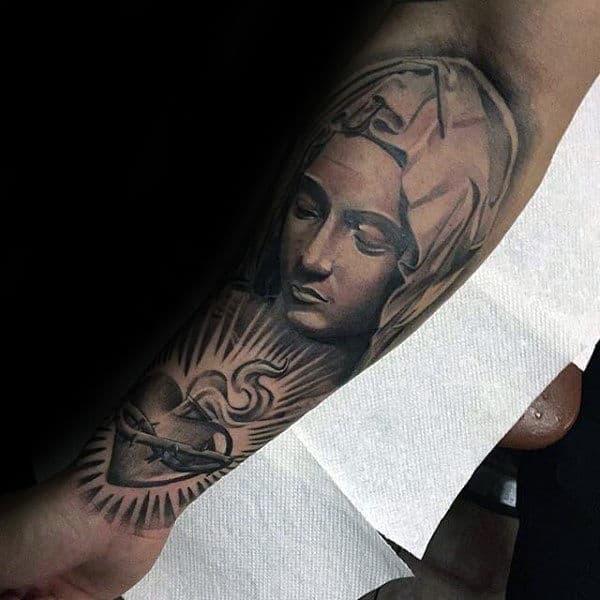 Sacred Heart Virgin Mary Mens Inner Forearm Tattoos