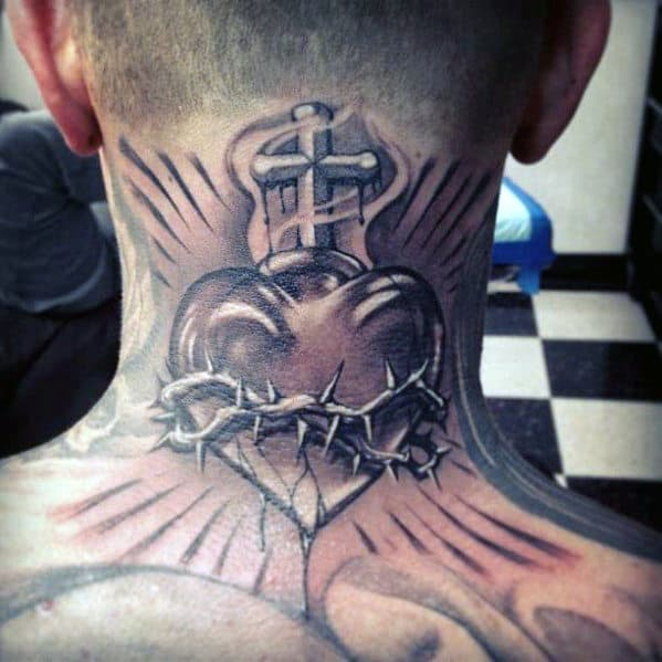 Sacred Heart With Thorns Mens Back Of Neck Tattoos