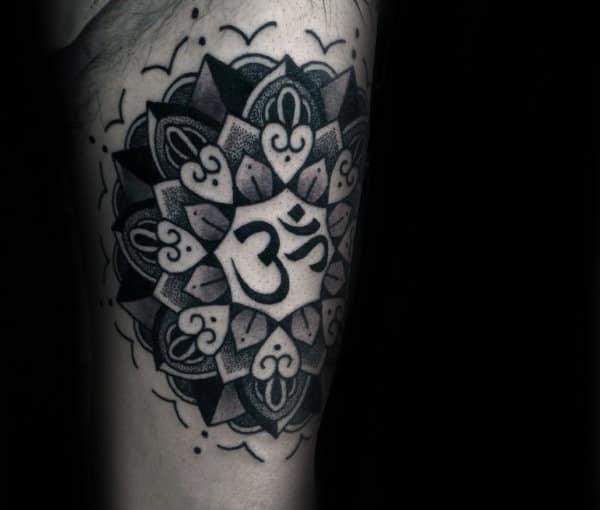 Sacred Om Guys Arm Tattoo Inspiration