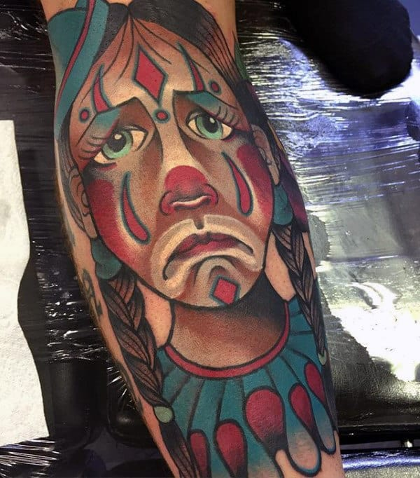 Sad Clown Mens Leg Tattoos