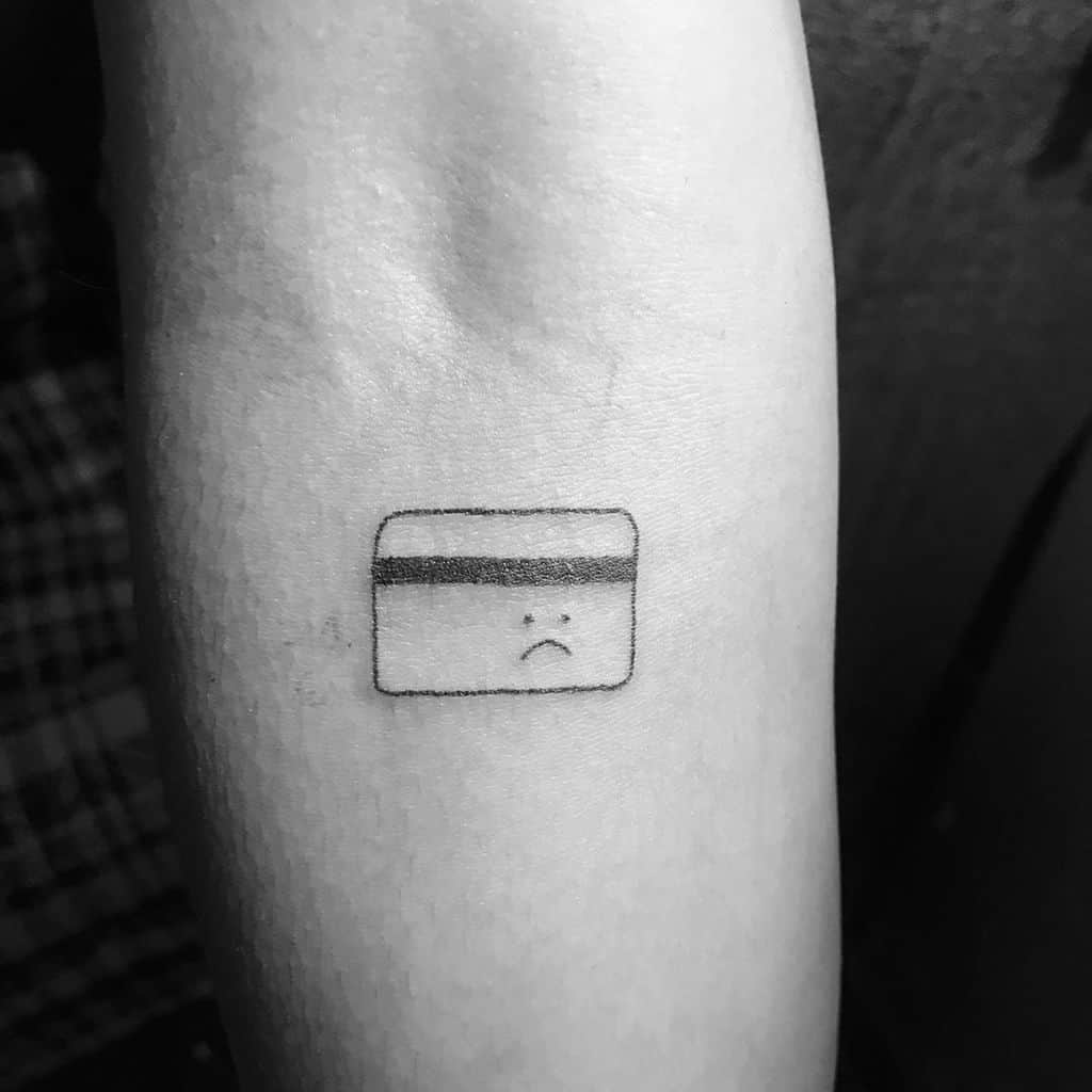 Sad Face No Money Flash Sheet Small Line Tattoo
