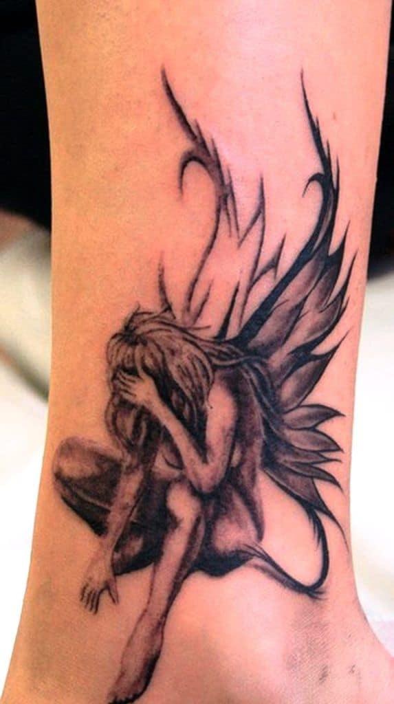 Sad Fallen Angel Fairy Tattoo