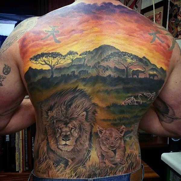 Safari Guys Sunset Full Back Lion Tattoos