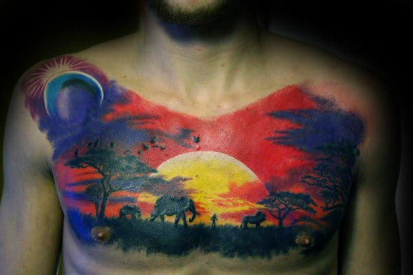 Safari Male Sunset Landscape Chest Tattoo
