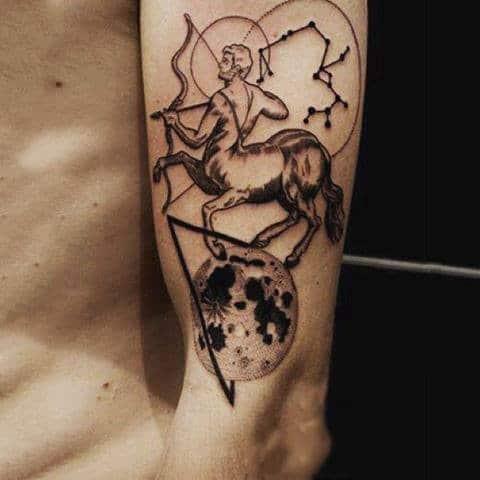 Sagittarius Constellation Archer Lower Arm Tattoo For Men