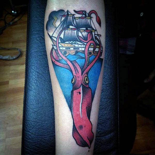Sailboat And Red Squid Tattoo With Blue Ocean Tattoo For Men