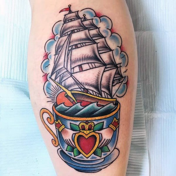 Sailboat Claddagh Coffee Mug Mens Leg Calf Tattoo