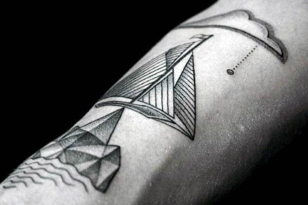 Sailboat Male Pointillism Tattoos