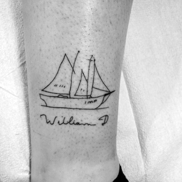 Sailboat Sketched Simple Line Mens Lower Leg Tattoo