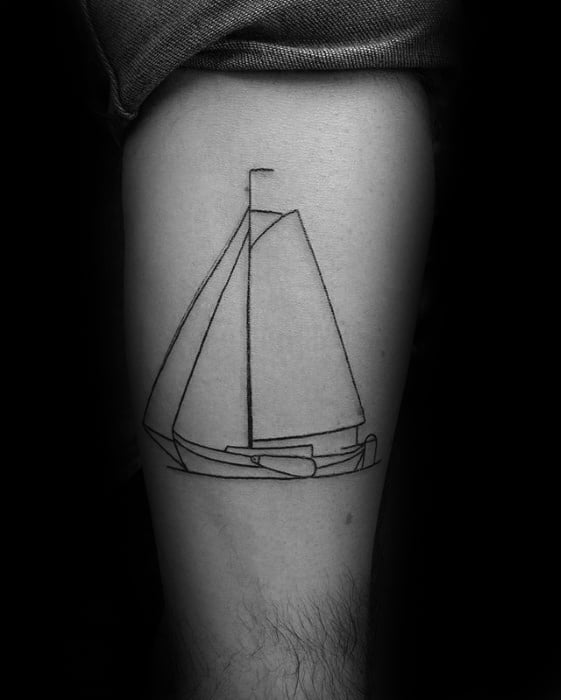 Sailboat With Outliens Guys Small Creative Thigh Tattoos