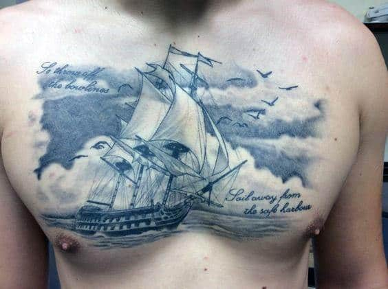 Sailign Ship Cloudy Sky Chest Tattoo Ideas For Gentlemen