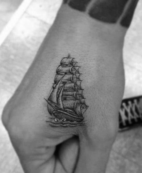 Sailing Shaded Ship Mens Small Tattoo Designs On Hand