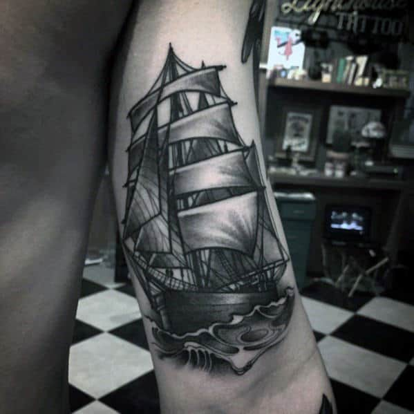 Sailing Ship 3d Mens Back Of Arm Tattoo
