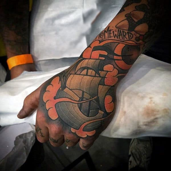 Sailing Ship Awesome Neo Traditional Male Tattoo On Hand And Wrist