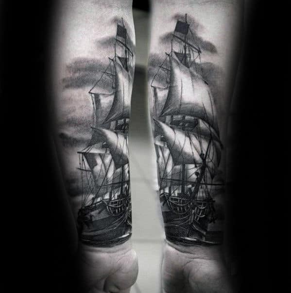 Sailing Ship Black And Grey Ink Mens 3d Tattoo On Forearm