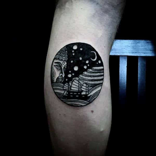Sailing Ship Black Ink Moon Circle Mens Leg Tattoos