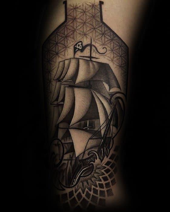 Sailing Ship Geometric Arm Male Tattoo Designs