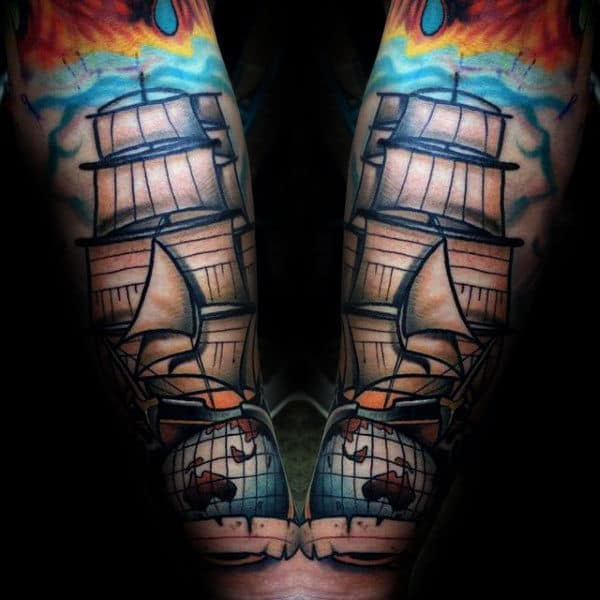 Sailing Ship Hot Air Ballon Male Globe Forearm Tattoos
