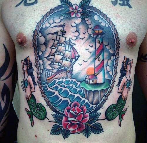 Sailing Ship In Seas With Lighthouse Guys Traditional Tattoo Ideas On Chest