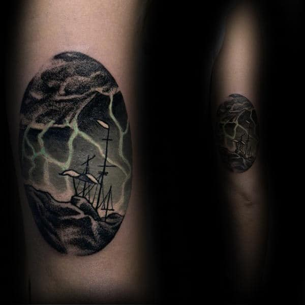Sailing Ship In Storm Small Unique Guys Tattoos